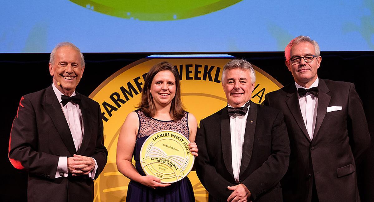 Alex Dunn winning Farmers Weekly award 2018