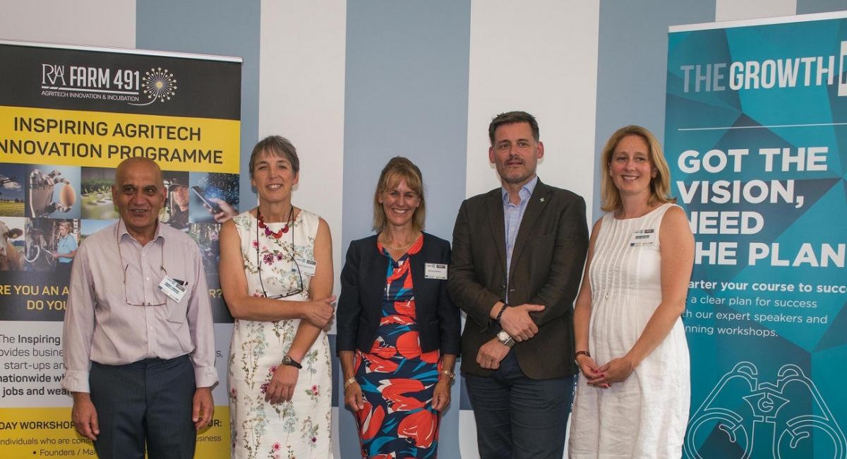 Ali Hadavizadeh (Farm491 Programme Manager), Professor Joanna Price (Vice-Chancellor of the RAU), Minette Batters (NFU President), David Owen (CEO of GFirst LEP) and Yesim Nicholson (Growth Hub Manager)
