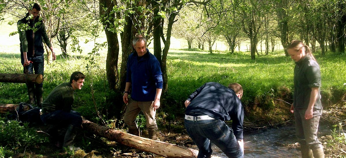 Students carrying out conservation work on a stream