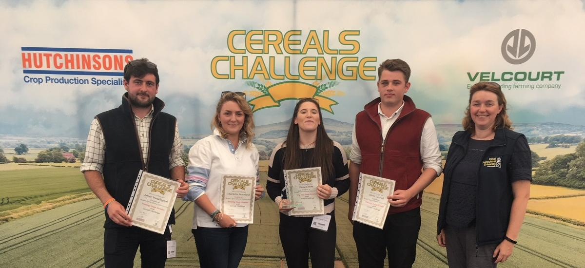 Winners of Cereals Challenge 2018 - Tania Coxon, Charlotte Pritchard, James Waddington and Oliver Carrick with Dr. Nicola Cannon