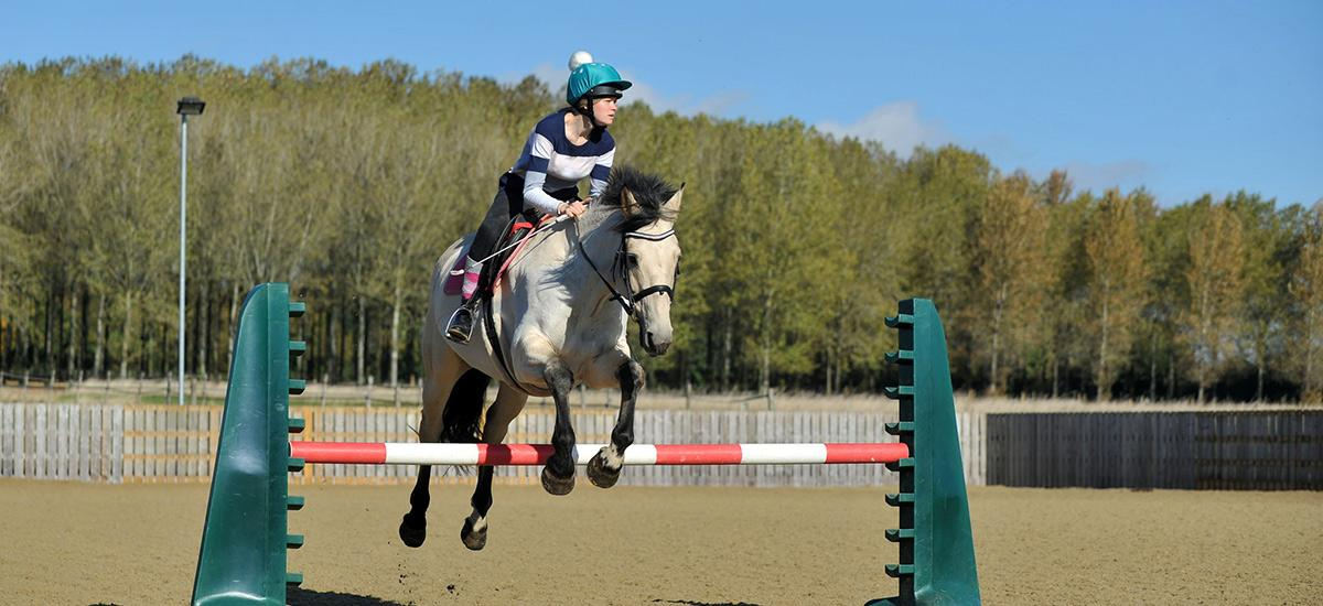 Horse and rider jumping in Fossehill's outdoor arena