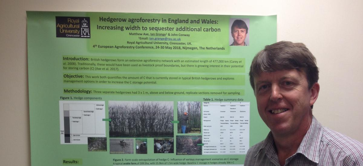 Ian Grange with his award winning poster at the 4th European Agroforestry Conference, in the Netherlands.
