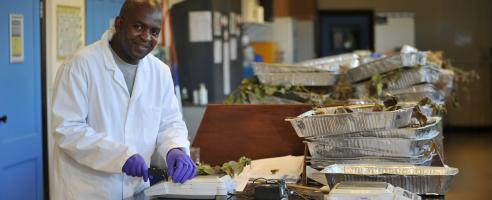 PhD student Pedzisai Nemadziba in his lab