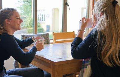 Girls sat at table