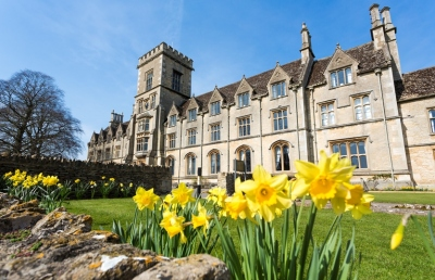 Front of the uni - with daffodils