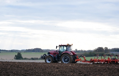 Tractor ploughing a field near to the RAU