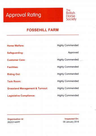 The British Horse Society Approval Rating for Fossehill Farm January 2018